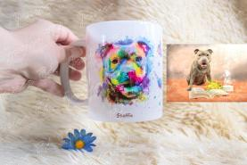 Mug personnalise staffie photo peinture aquarelle portrait